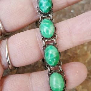 Vintage sterling peking glass bracelet